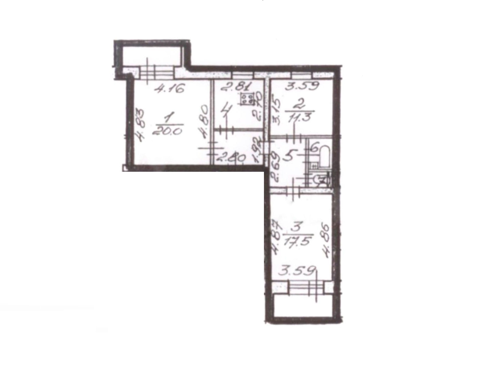 3-комнатная квартира, 71.3 м², 1 этаж – Планировка