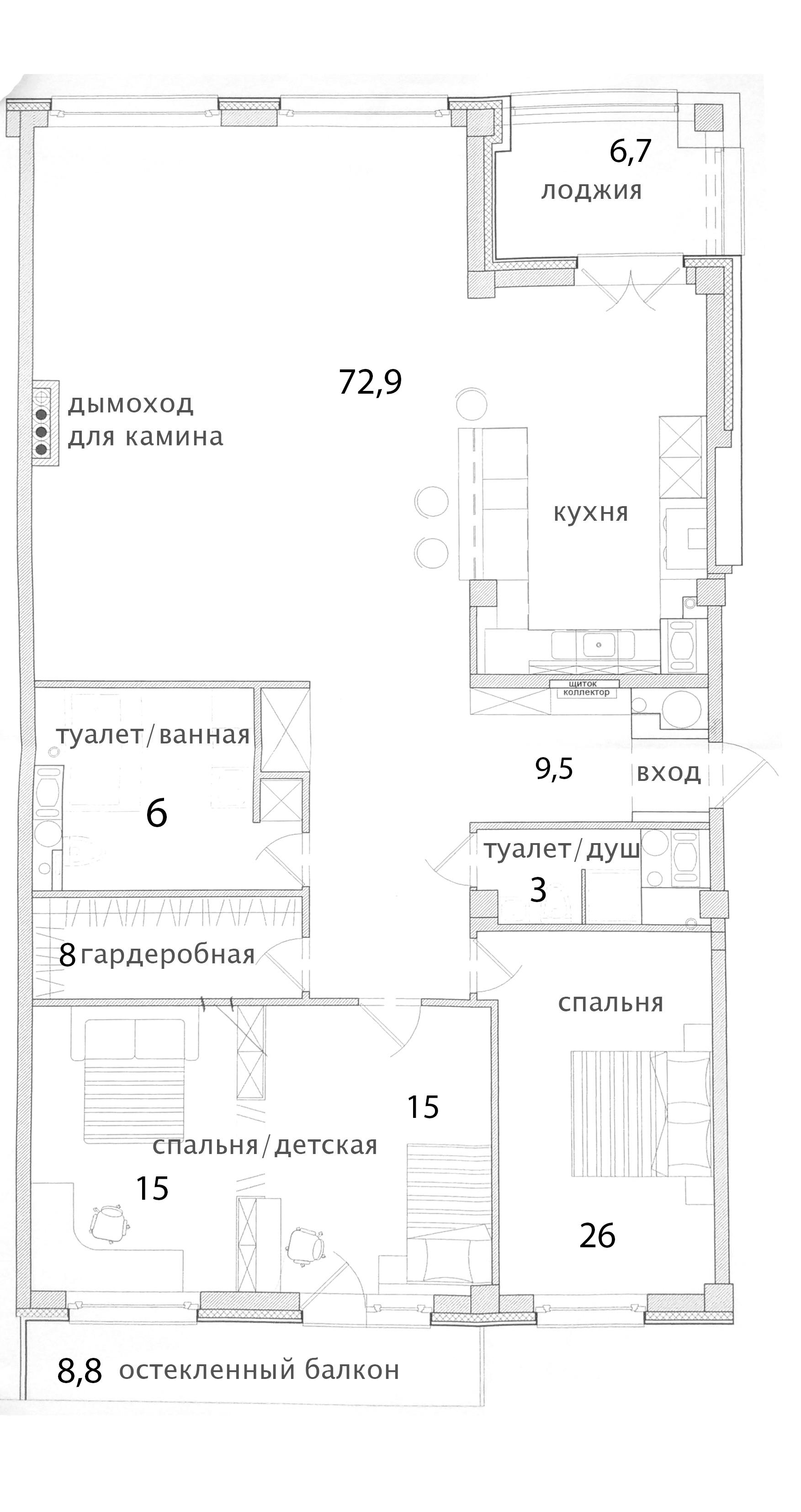 4Е-комнатная квартира, 155.4 м², 6 этаж – Планировка