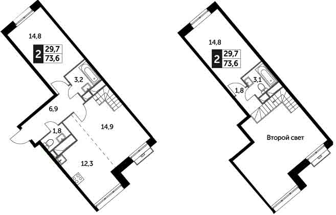 3Е-комнатная, 73.6 м²– 2