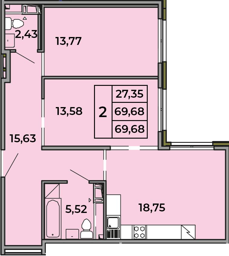 3Е-комнатная, 69.68 м²– 2