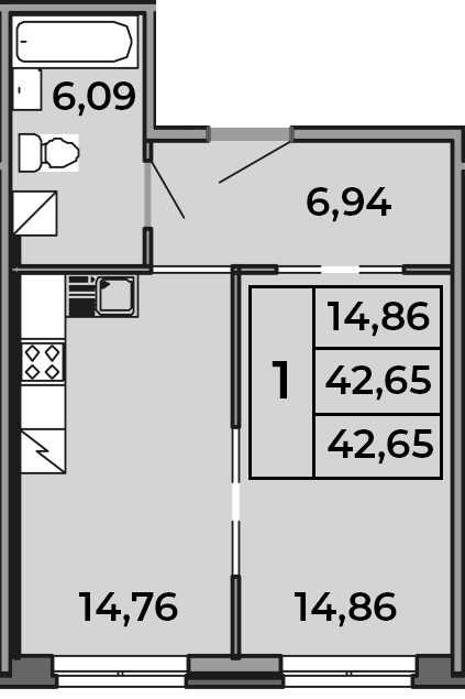 1-к.кв, 42.65 м²