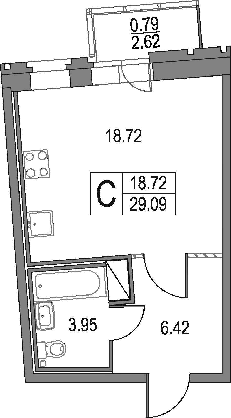 Студия, 29.09 м²– 2