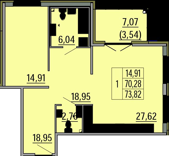 2Е-комнатная, 73.82 м²– 2