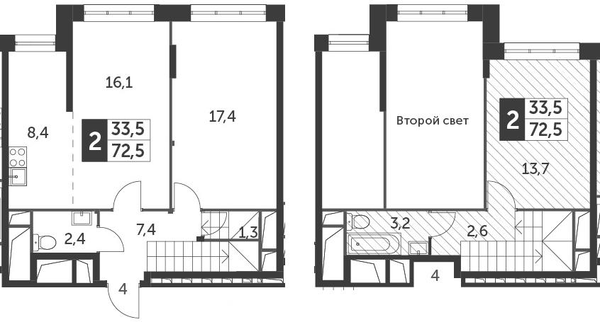 3Е-комнатная, 72.5 м²– 2