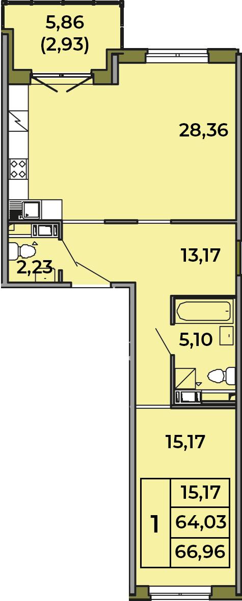 2Е-комнатная, 64.03 м²– 2