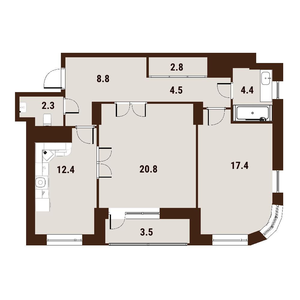 2-к.кв, 77 м²
