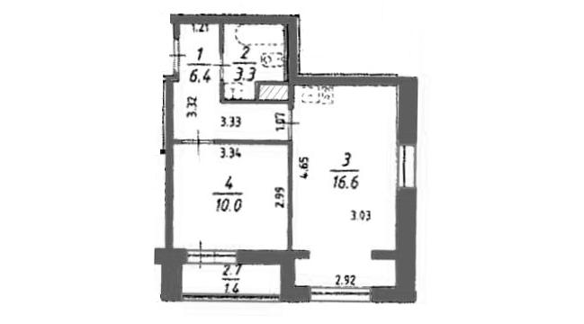 2Е-комнатная, 37.65 м²– 2