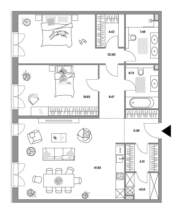3Е-к.кв, 120.85 м²