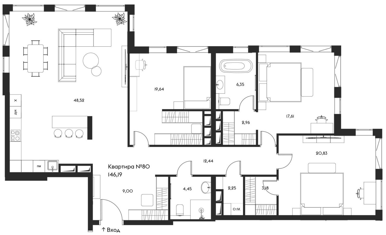 4Е-комнатная, 146.19 м²– 2
