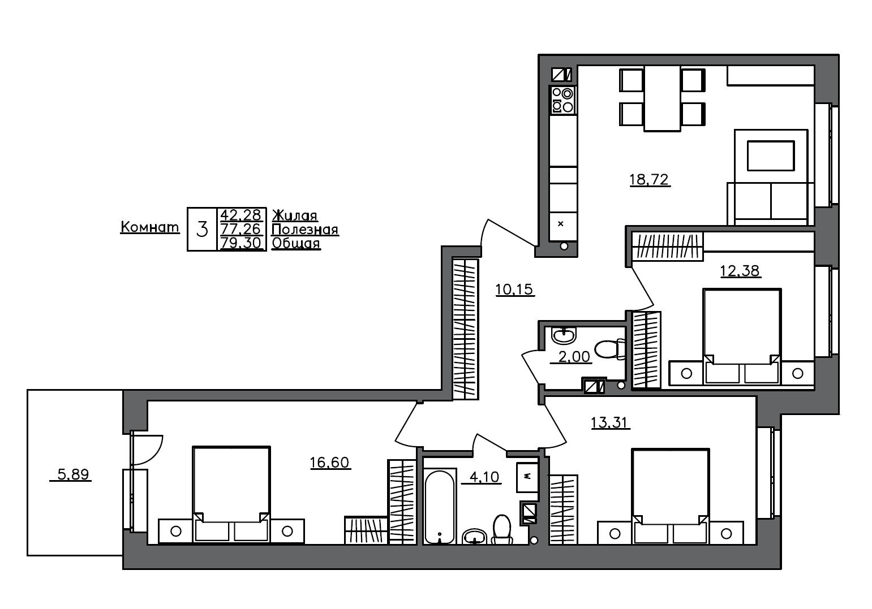 4Е-к.кв, 79.3 м²