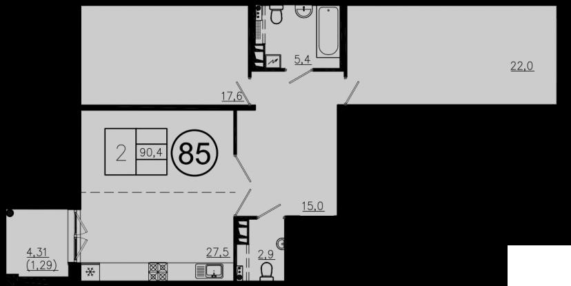 3Е-комнатная, 90.4 м²– 2