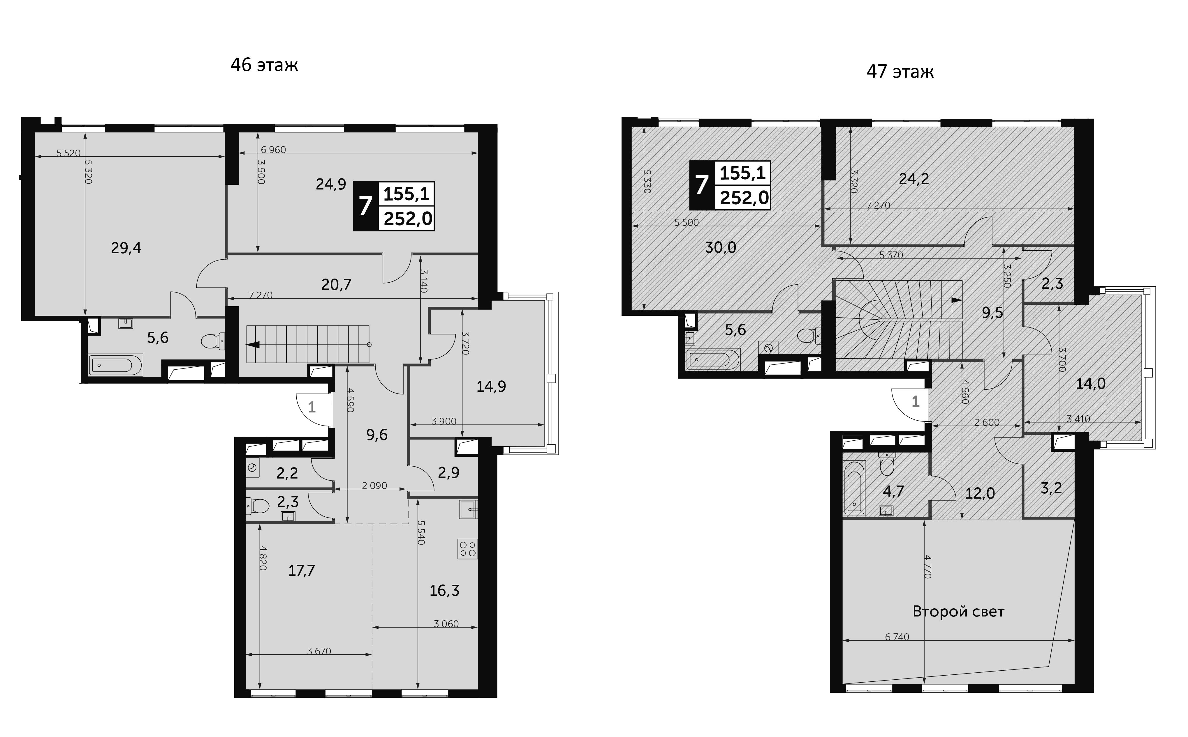 7-комнатная, 252 м²– 2