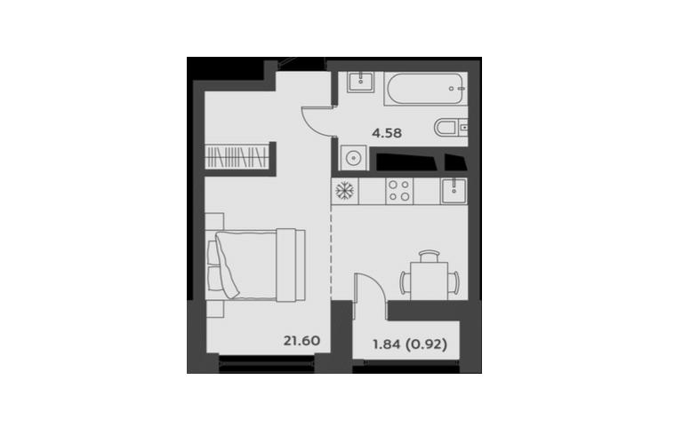 Студия, 27.11 м²– 2