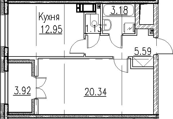 1-к.кв, 43.19 м²