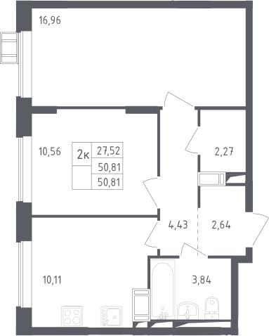 2-к.кв, 50.81 м²