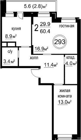 2-к.кв, 63.2 м²