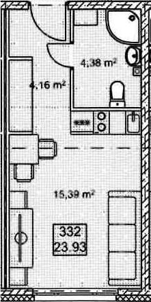 Студия, 23.93 м²