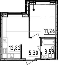 1-комнатная, 32.91 м²– 2