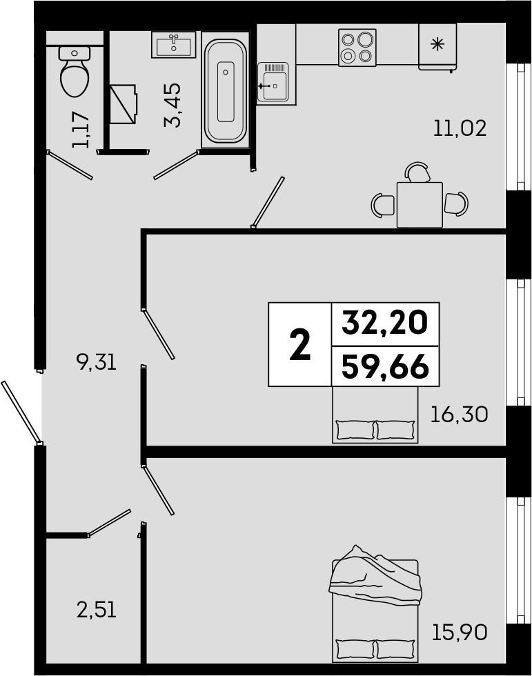 2-комнатная, 59.66 м²– 2