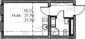 Студия, 21.96 м²– 2