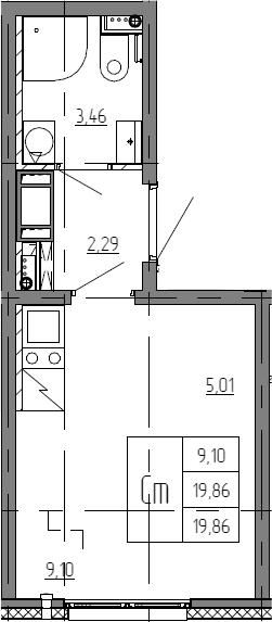 Студия, 19.86 м²– 2