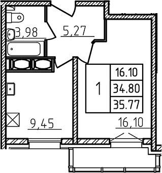 1-к.кв, 35.9 м²