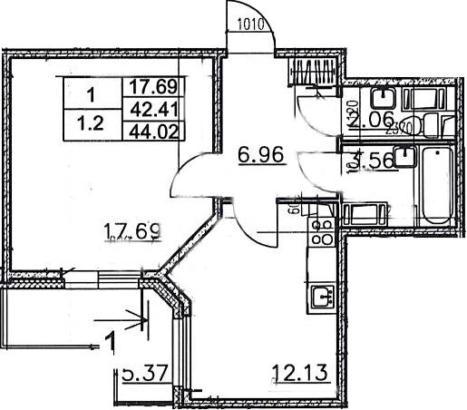 1-к.кв, 47.78 м²