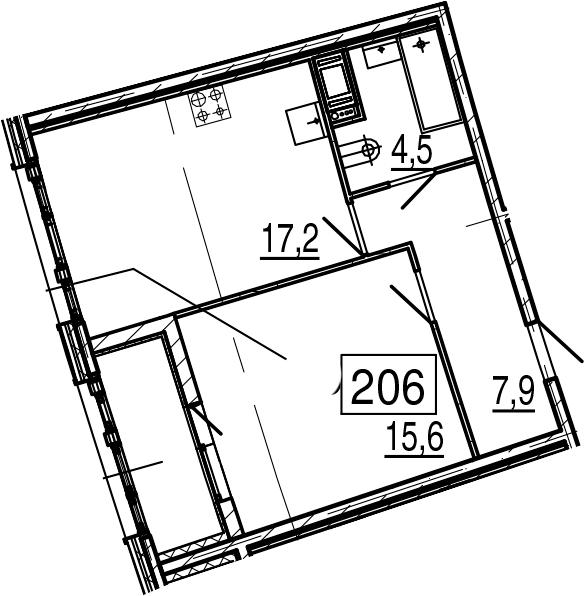 2Е-к.кв, 47.3 м², 4 этаж
