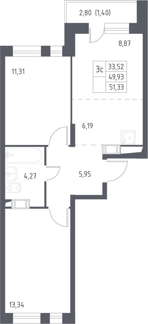 3Е-к.кв, 51.33 м², 16 этаж