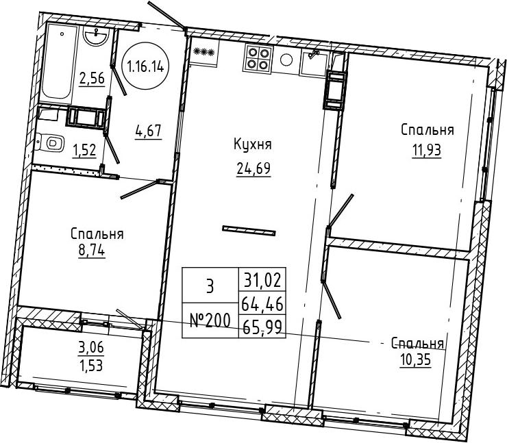 4Е-к.кв, 65.99 м², 16 этаж