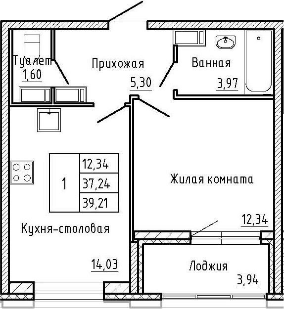 1-к.кв, 39.21 м², от 2 этажа