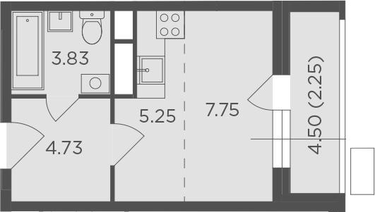 Студия, 23.81 м², 6 этаж – Планировка