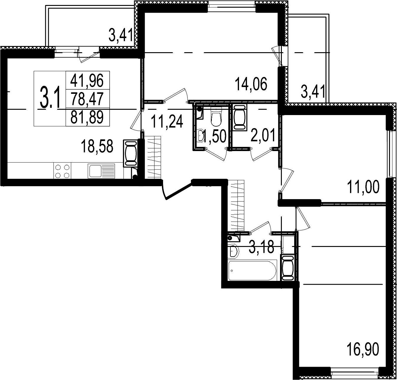 4-к.кв (евро), 86.29 м²