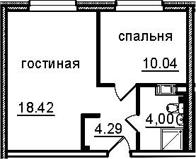 2Е-к.кв, 36.75 м², от 4 этажа