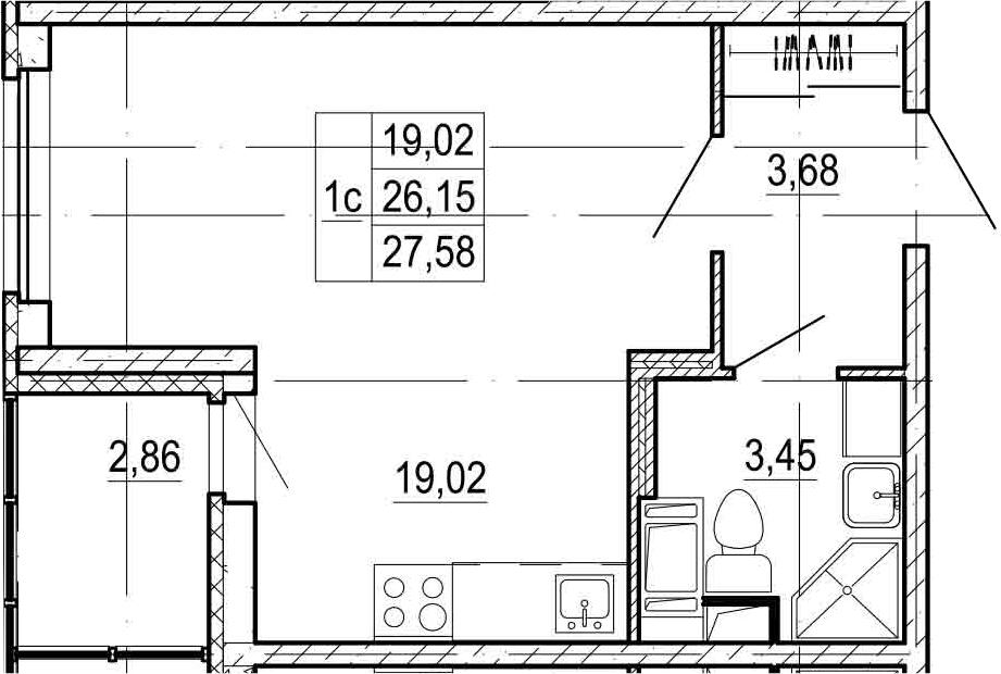 Студия, 29.01 м²