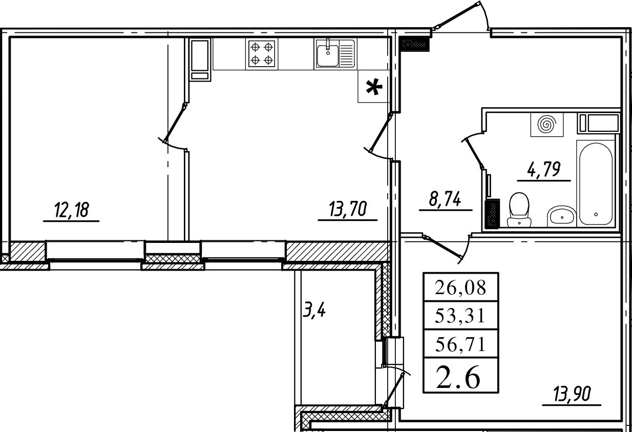 2-к.кв, 53.31 м²