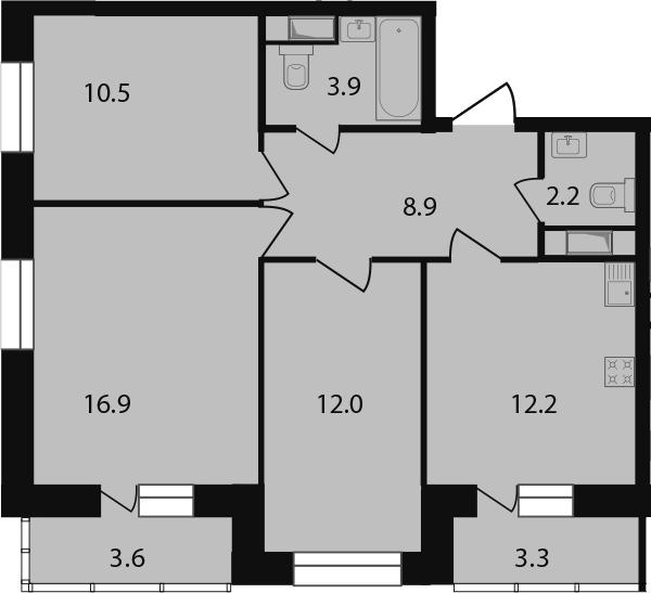 3-к.кв, 73.5 м²