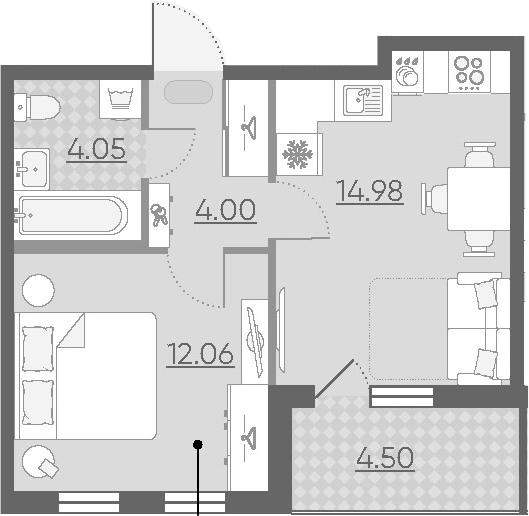 1-к.кв, 39.59 м²