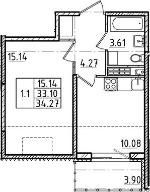 1-к.кв, 33.1 м², 5 этаж
