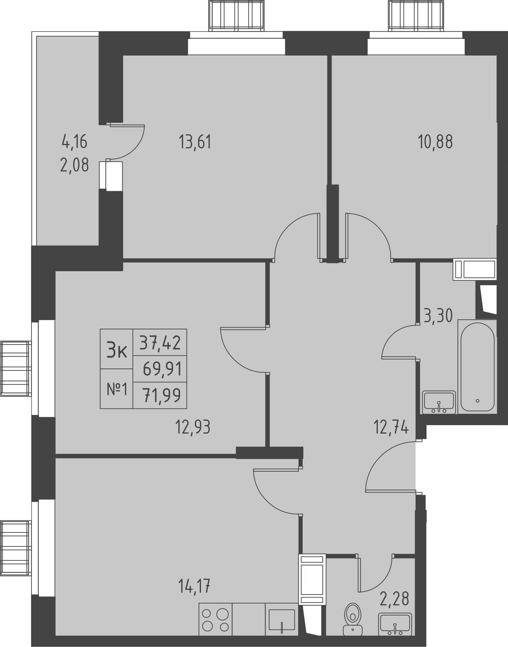 3-к.кв, 74.07 м²
