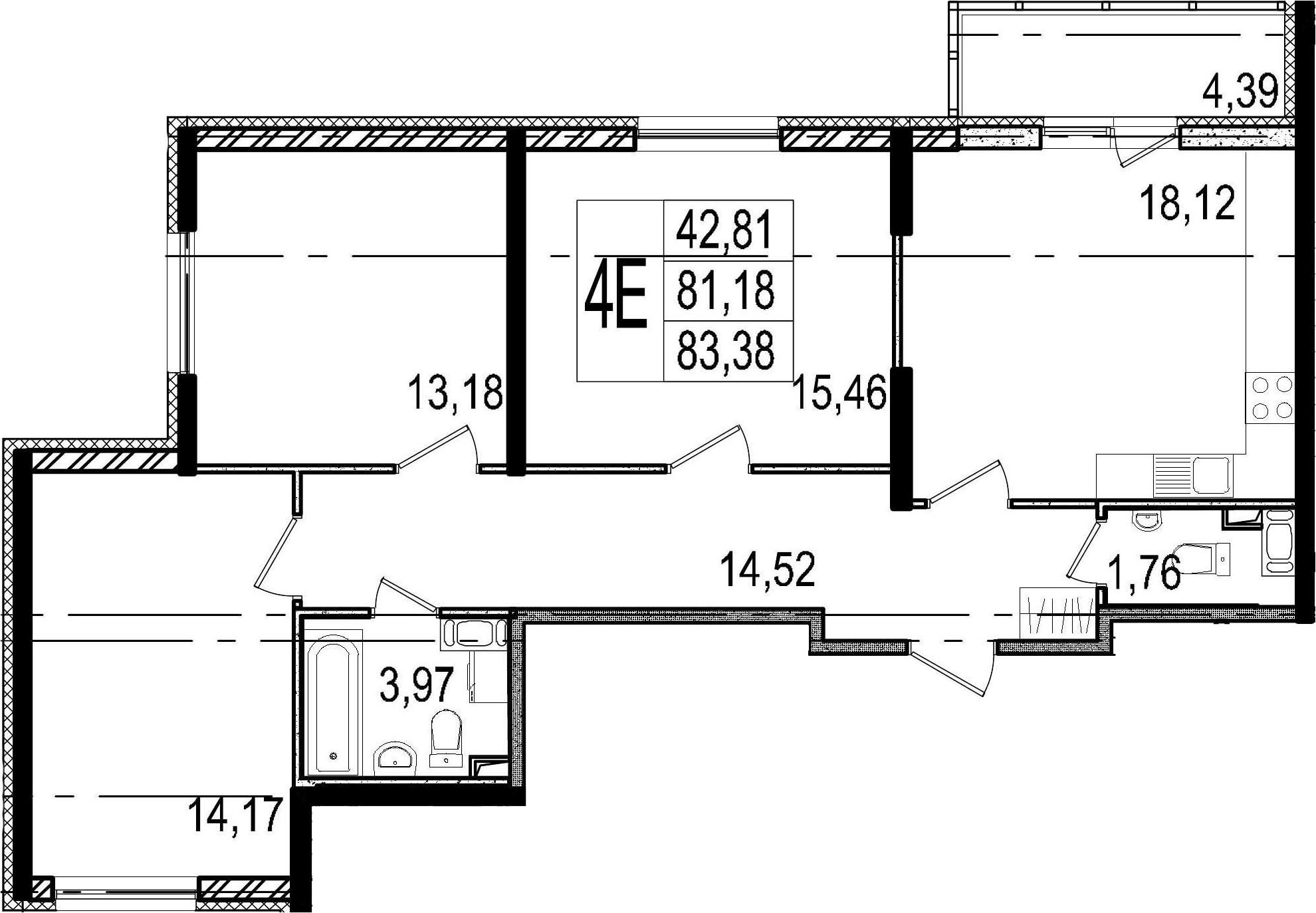 4-к.кв (евро), 85.57 м²