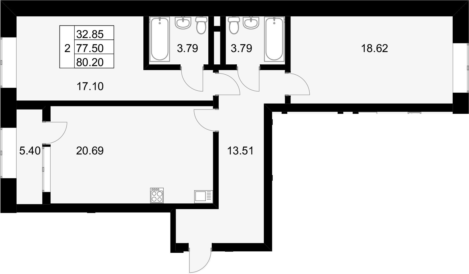3Е-к.кв, 80.2 м², 14 этаж