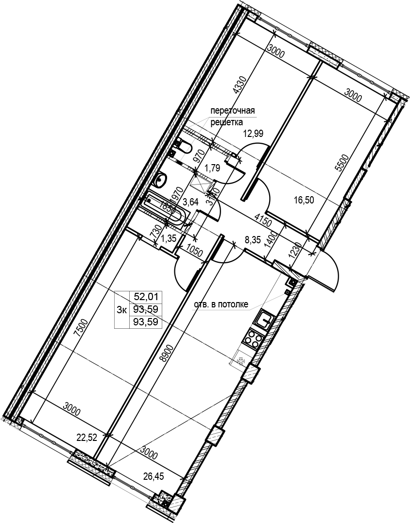 4Е-к.кв, 93.59 м², 2 этаж