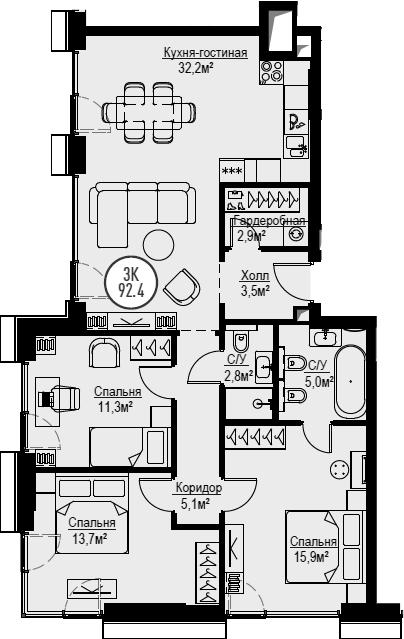 4Е-комнатная, 92.4 м²– 2