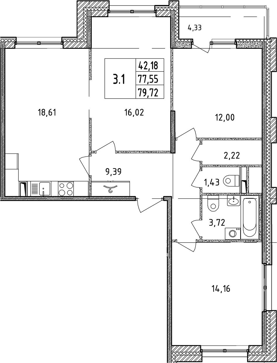 4Е-к.кв, 77.55 м²