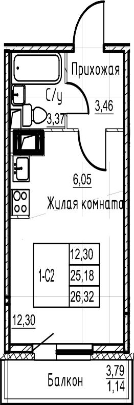 Студия, 26.32 м²– 2