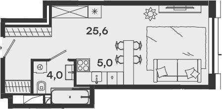 Студия, 34.6 м²– 2