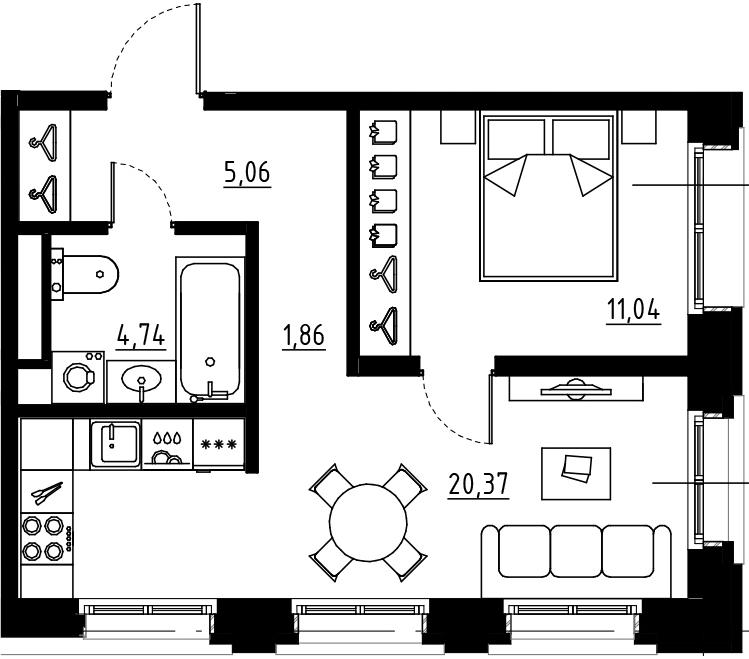 2Е-комнатная, 43.07 м²– 2