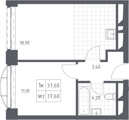 2-к.кв (евро), 37.6 м²
