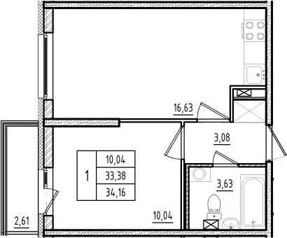 2Е-комнатная, 33.38 м²– 2